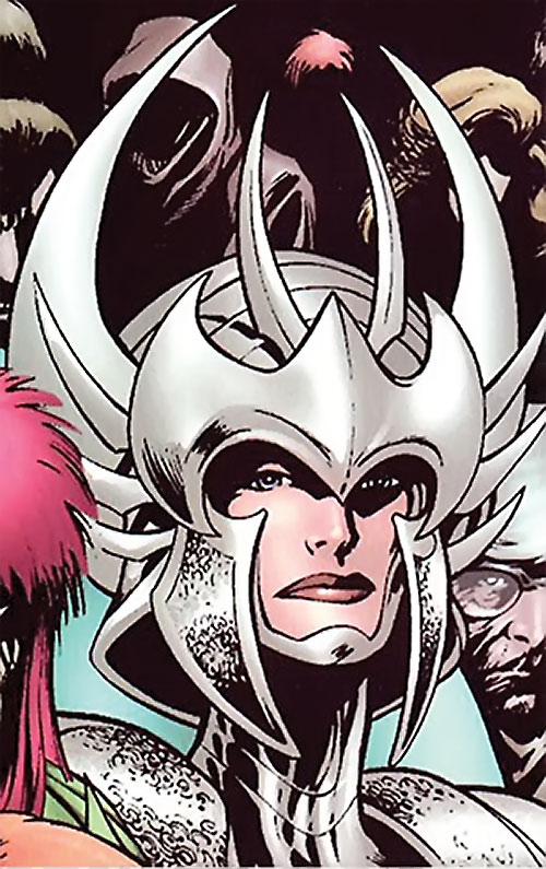 Samantha Destine Argent of Clan Destine (Marvel Comics) face closeup with ornate helmet