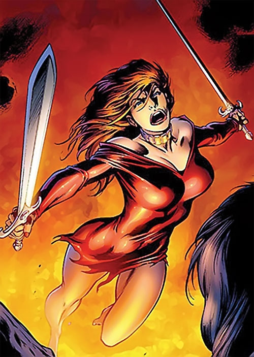 Samantha Destine Argent of Clan Destine (Marvel Comics) in a torn red dress with paired swords