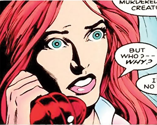 Samantha Destine Argent of Clan Destine (Marvel Comics) face closeup on the phone