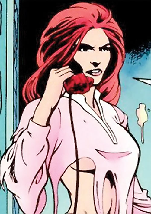 Samantha Destine Argent of Clan Destine (Marvel Comics) on the phone in torn clothing