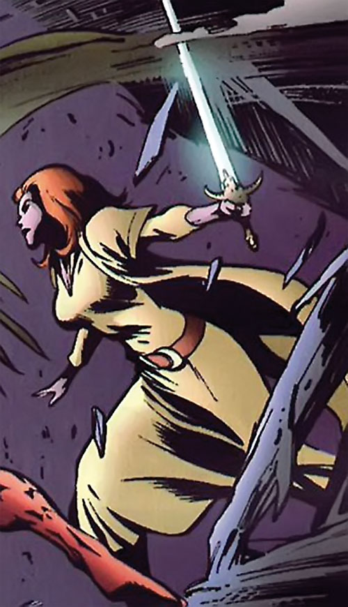 Samantha Destine Argent of Clan Destine (Marvel Comics) in robes and with a sword