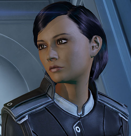 Samantha Traynor (Mass Effect 3) looking pensive