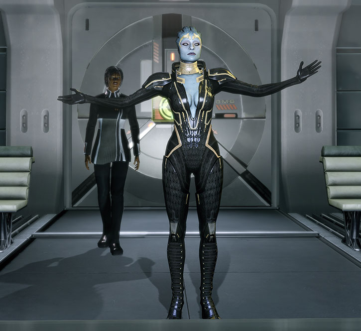 Justicar Samara in her black suit, with her arms extended