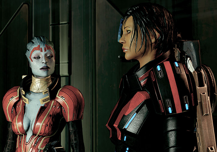 Justicar Samara talking with Commander Shepard on Omega Station