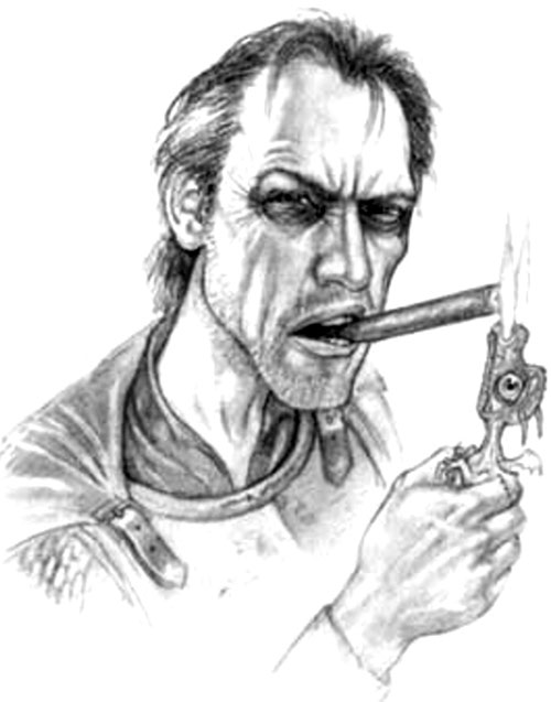Captain Samuel Vimes of the Watch (Pratchett's Discworld) lighting cigar with dragon
