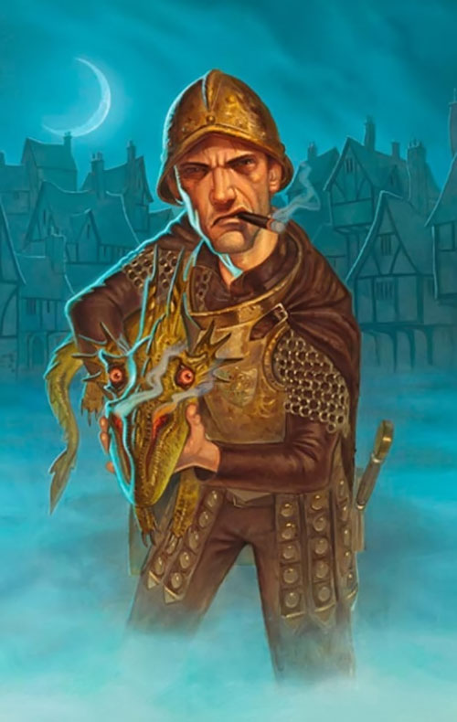 Captain Samuel Vimes of the Watch (Pratchett's Discworld) armed with a dragon