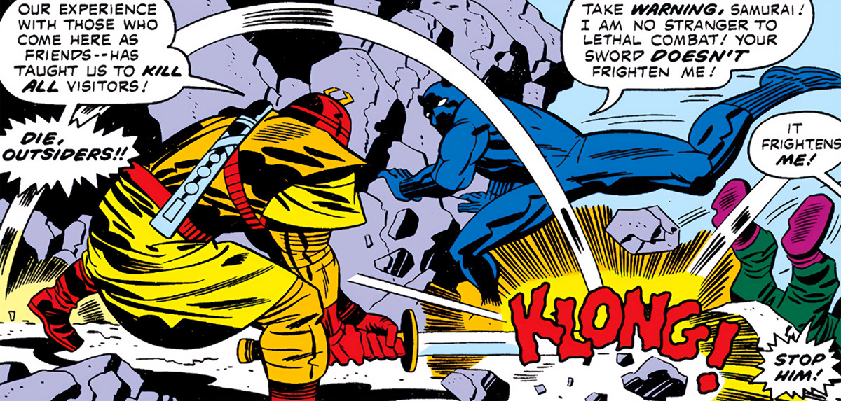 Samurai City (Marvel Comics) (Black Panther by Jack Kirby) attacking guardian sword strike