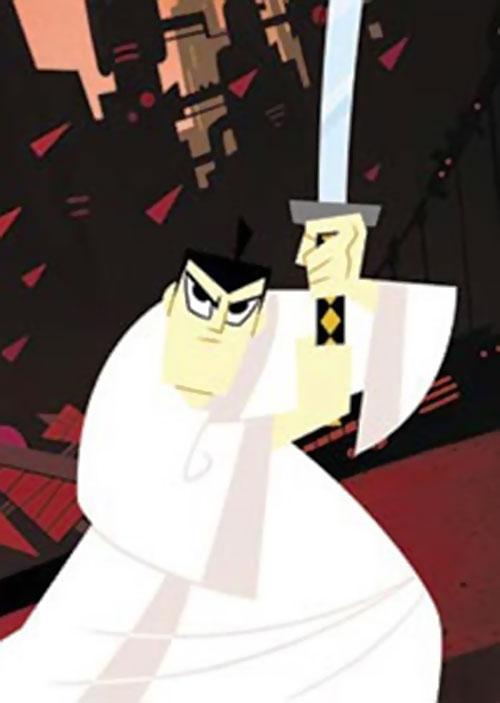 Samurai Jack (Cartoon Network) with his sword raised, before ruins