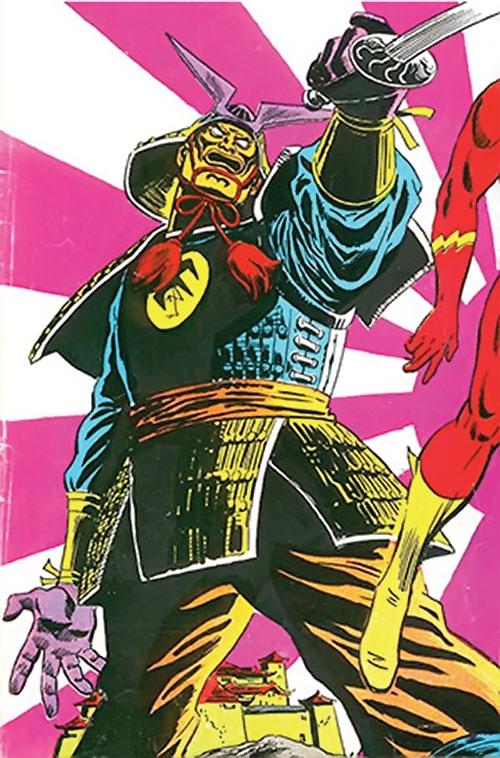 A Samuroid (Flash enemies) (DC Comics) and a rising sun motif