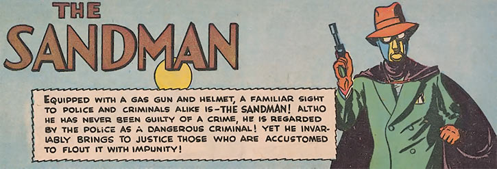 1940 splash banner for the Sandman stories (DC Comics)