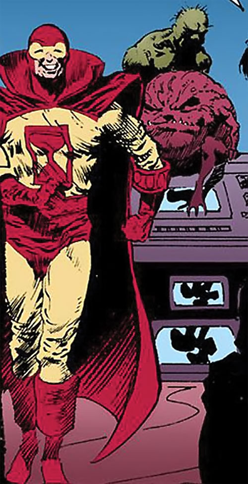 Sandman (DC Comics) (Hector Hall) grinning idiotically, with Brute and Glob