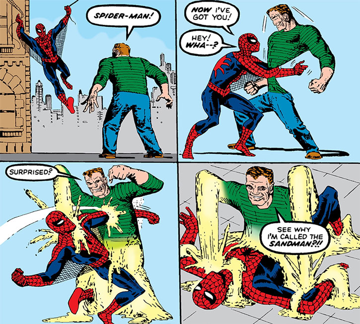 First encounter between the Sandman and Spider-Man