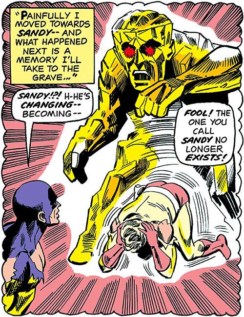 Sandy the Golden Boy (DC Comics) (Sandman sidekick) turns into a monster