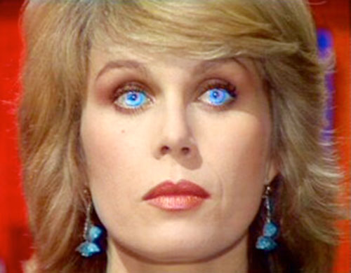 Sapphire (Joanna Lumley in Sapphire and Steel) (BBC series) face closeup with glowing blue eyes