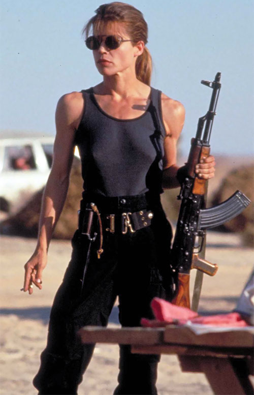 Sarah Connor (Linda Hamilton) with an AK rifle in the desert
