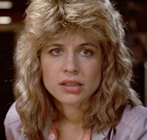 Sarah Connor (Linda Hamilton) in 1984, face closeup