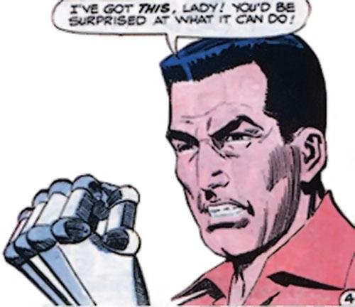 Sarge Steel (Charlton comics) brandishing his steel fist