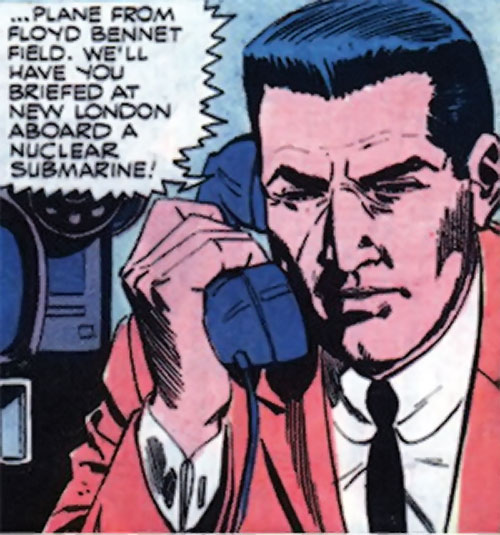 Sarge Steel (Charlton comics) on the phone