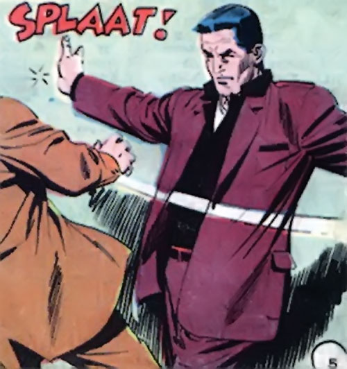 Sarge Steel (Charlton comics) backhands a dude
