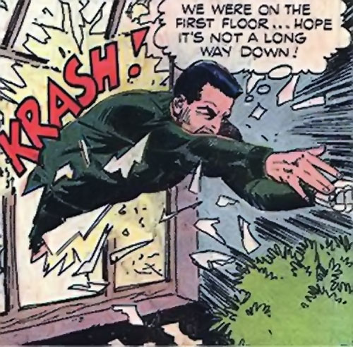 Sarge Steel (Charlton comics) crashing through a window