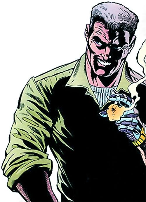 Sarge Steel (DC Comics) smoking with an evil grind