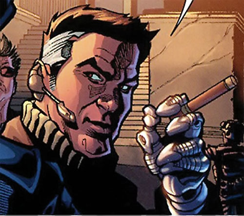 Sarge Steel (DC Comics) with cigar and radio headset