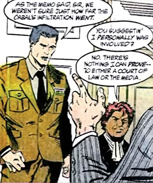Sarge Steel (DC Comics) with Amanda Waller and the President