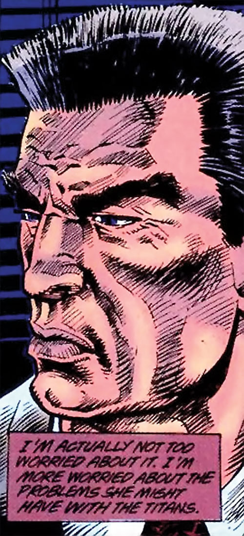 Sarge Steel (DC Comics) worried face closeup