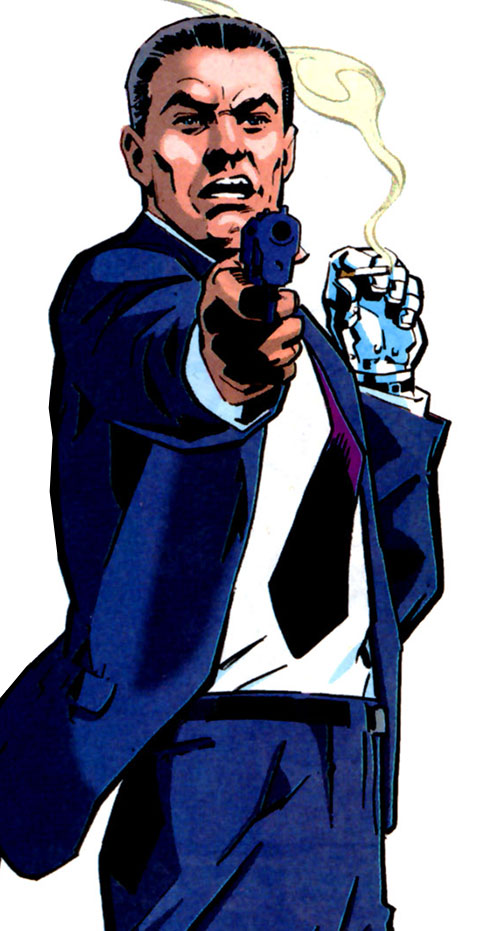 Sarge Steel (DC Comics) pointing a pistol while holding a smoking cigarette