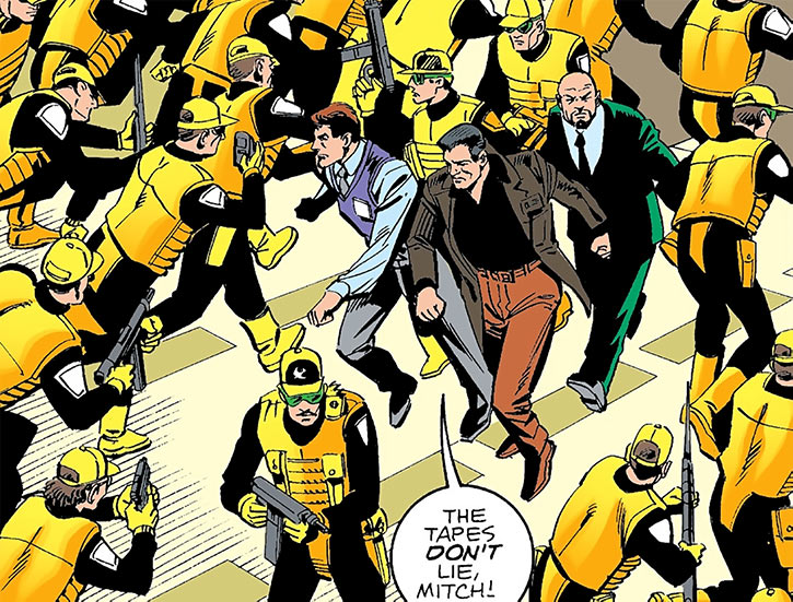Sarge Steel amidst a sea of guards (DC Comics)