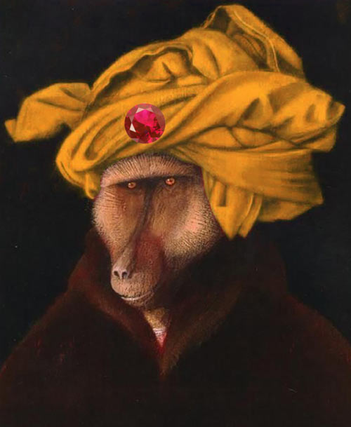 Monkey with a yellow turban and magic ruby à la Sargon the Sorcerer