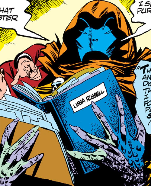 Sarnak (Werewolf by Night enemy) (Marvel Comics) examining files