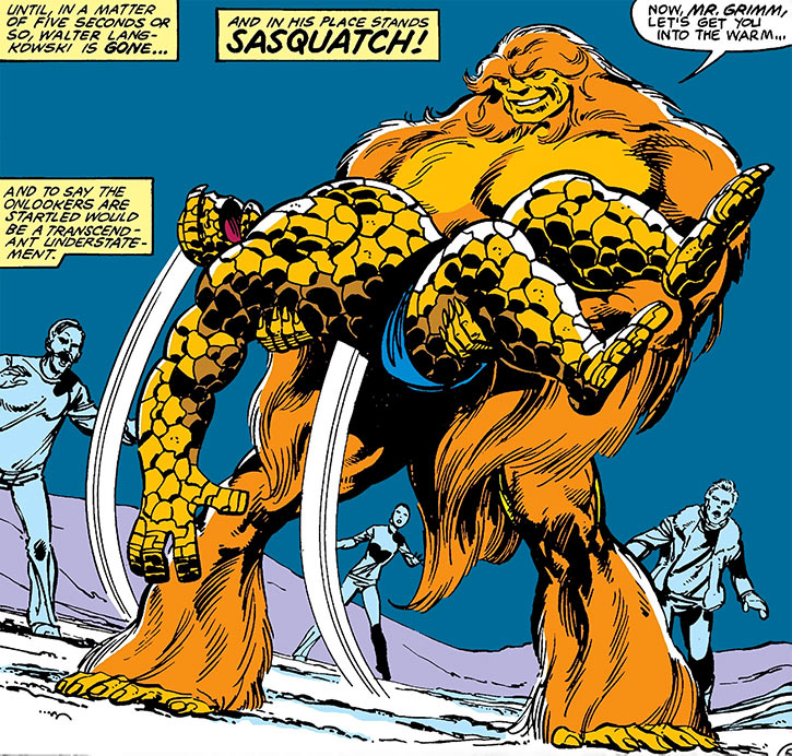 Sasquatch (Walter Langkowski) lifts an unconscious Thing