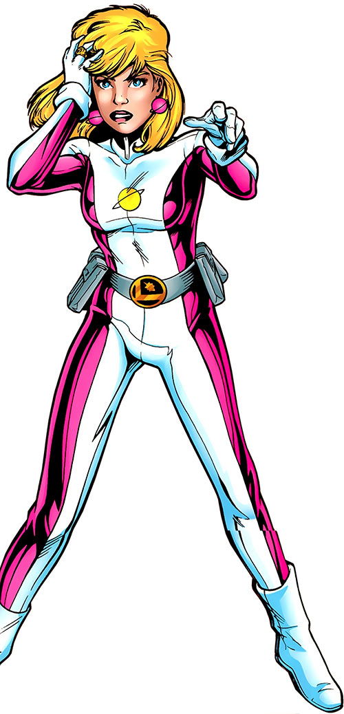 Saturn Girl (rebooted version) over a white background