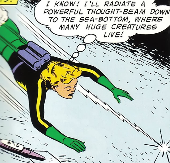 Saturn Girl (Imra Ardeen) doing a mental probe over the ocean during the Silver Age