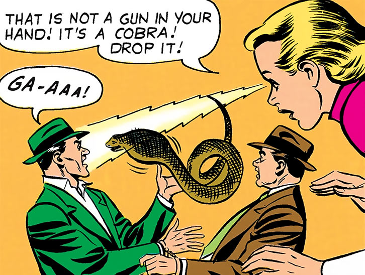 Saturn Girl (Imra Ardeen) turns pistols into snakes during the Silver Age