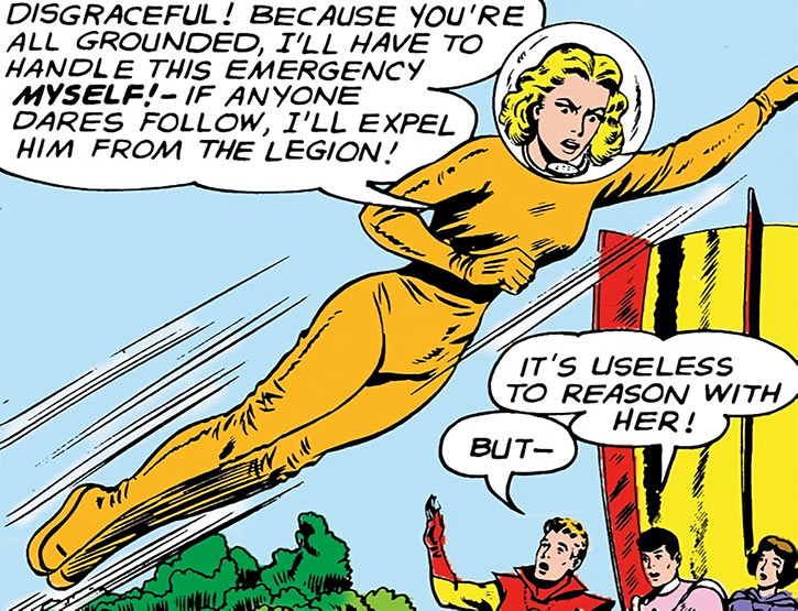Saturn Girl (Imra Ardeen) in an orange space suit during the Silver Age