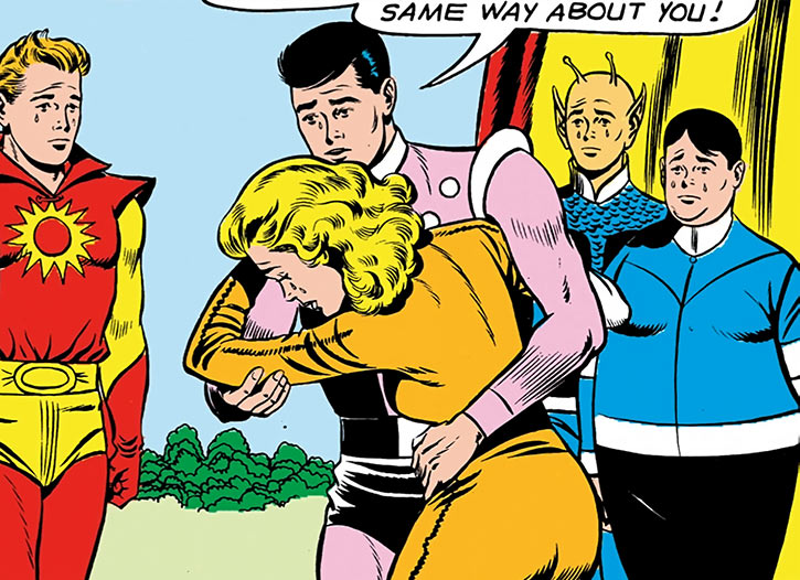 Saturn Girl (Imra Ardeen) crying in Cosmic Boy's arms during the Silver Age
