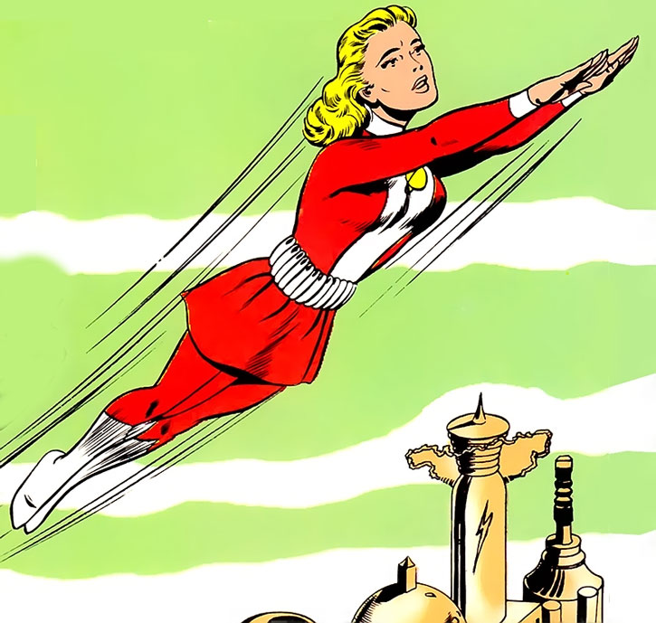 Saturn Girl (Imra Ardeen) flying over a city during the Silver Age