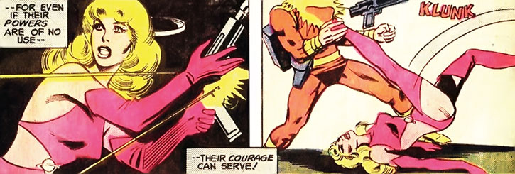 Saturn Girl (Imra Ardeen) physically fights a Khund
