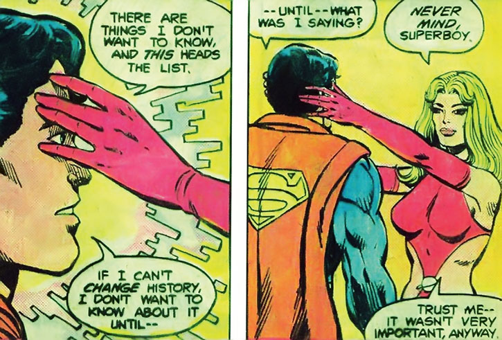 Saturn Girl (Imra Ardeen) erases Superboy's memories