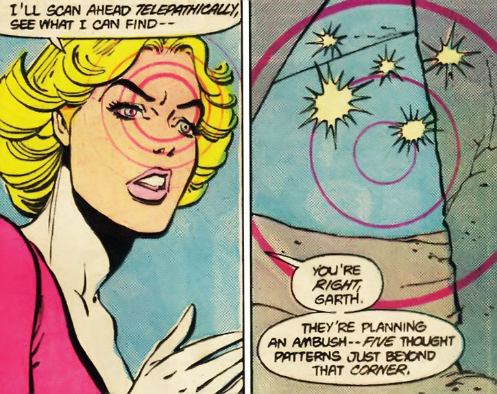 Saturn Girl (Imra Ardeen) telepathically detects an ambush