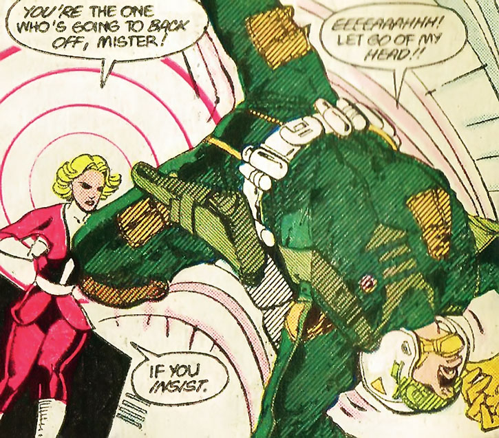 Saturn Girl (Imra Ardeen) takes out a guard