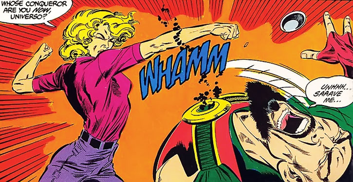 Saturn Girl (Imra Ardeen) punches Universo