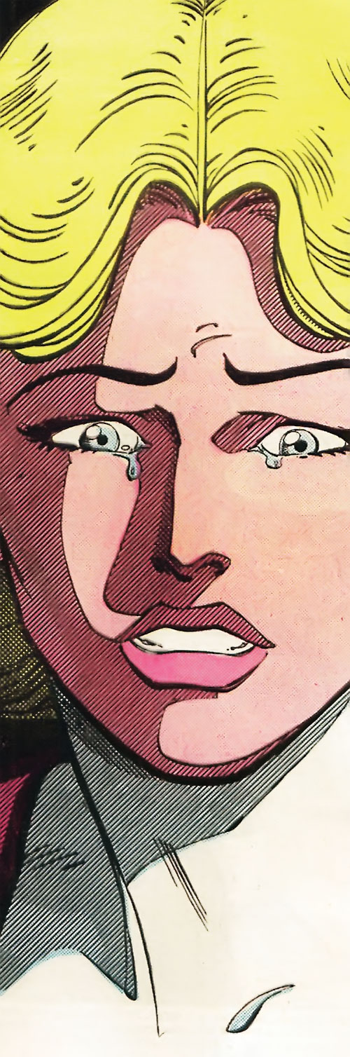 Saturn Girl (Classic DC Comics) surprised face closeup
