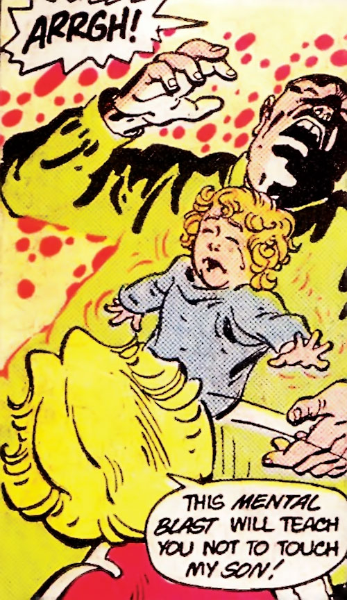 Saturn Girl (Classic DC Comics) recovering her son from a thug
