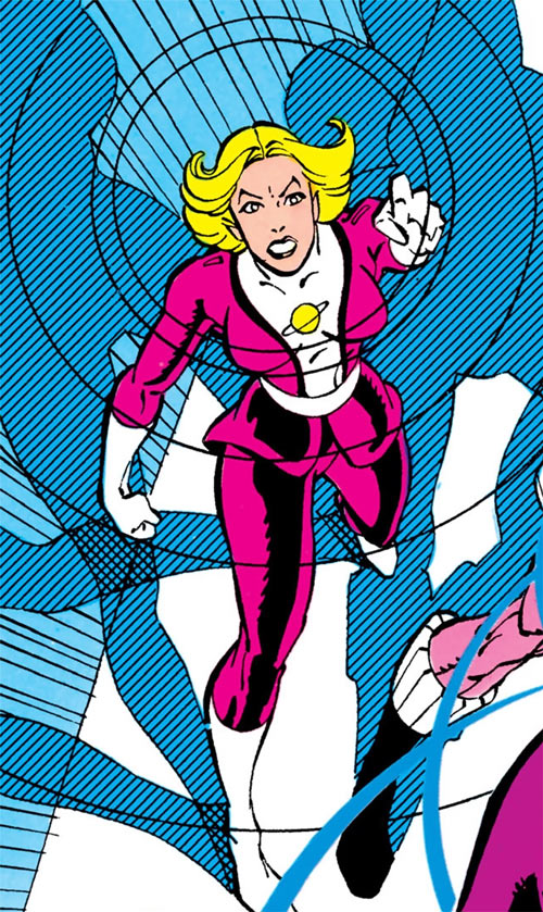 Saturn Girl (Classic DC Comics) high angle shot using her power