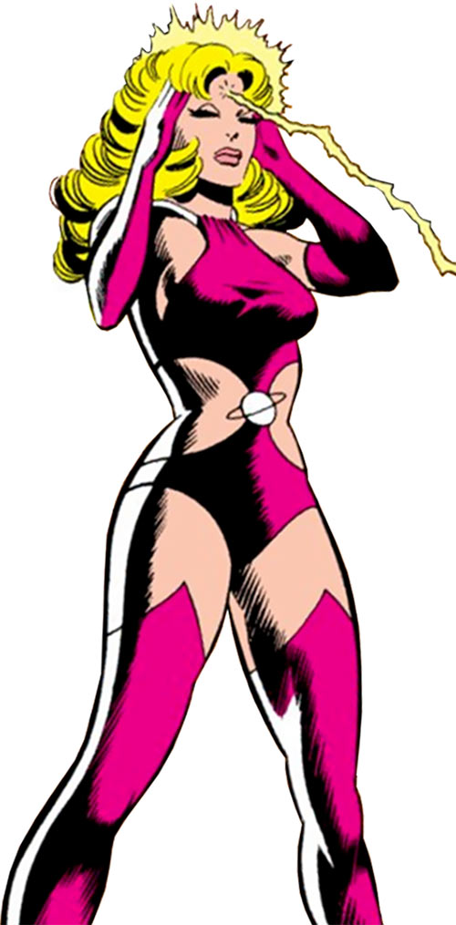 Saturn Girl (Classic DC Comics) using her power on a weird purple alien