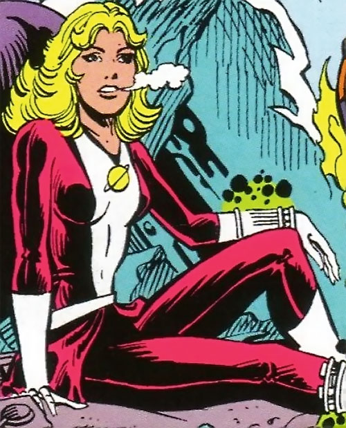 Saturn Girl (Classic DC Comics) sitting in the cold