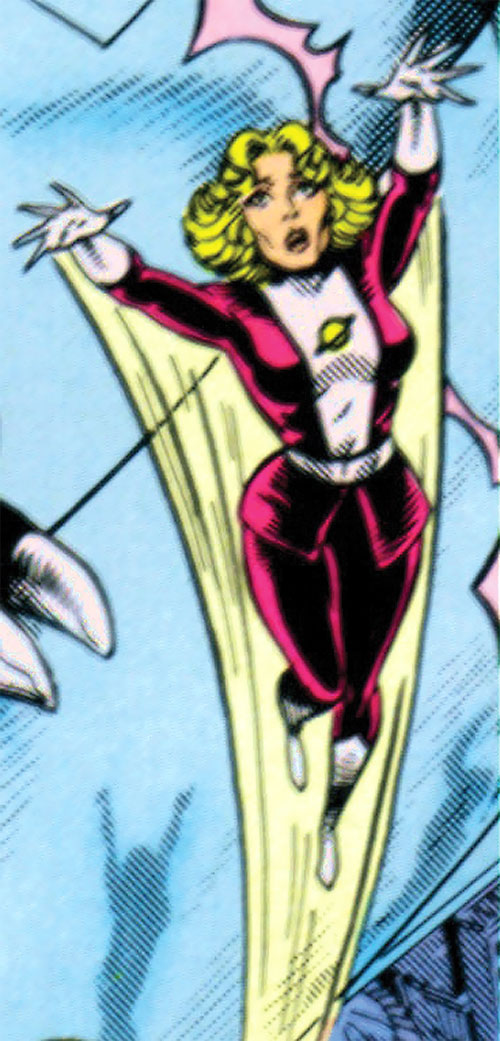 Saturn Girl (Classic DC Comics) flying fast